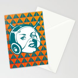 Faces: SciFi lady on a teal and orange pattern background Stationery Cards