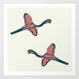 Pink Flamingo watercolor pattern beige Art Print