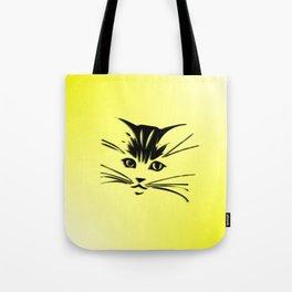 Light Cadmium Yellow Kitty Cat Face Tote Bag
