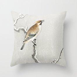 Bird sitting on a snowy tree - Vintage Japanese Woodblock Print Art Throw Pillow