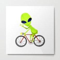 Alien Riding Bike Metal Print