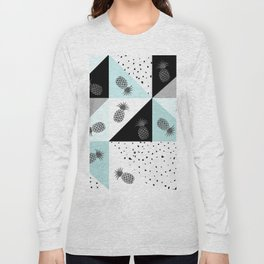 Teal black white dots pineapple geometrical color block Long Sleeve T-shirt
