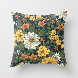 Vintage floral pattern. Yellow and white flowers. Throw Pillow