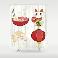 japanese Shower Curtains featuring japanese by Kozza