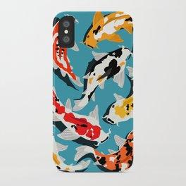 Colorful Koi Carps Swimming Around iPhone Case