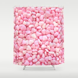 Pink Candy Hearts Shower Curtain