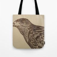 hawk Tote Bags featuring Hawk by Leslie Creveling