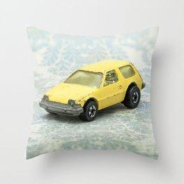 Yellow Hot Wheels Packin' Pacer 1977 Throw Pillow
