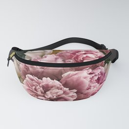 Pink peonies rose vintage bouquet Fanny Pack