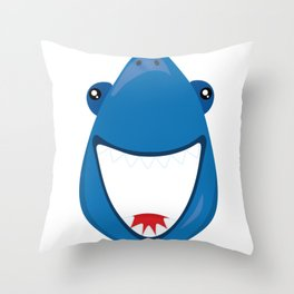 Friendly Sharks Happy Shark Throw Pillow