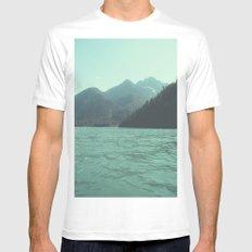 Desolation is beyond the horizon - Diablo Lake MEDIUM White Mens Fitted Tee