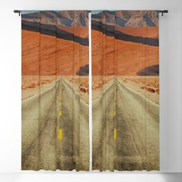 'Lonely Desert Road A Thousand Miles From Nowhere' landscape painting Blackout Curtain