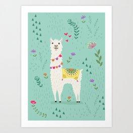 Festive Llama Art Print