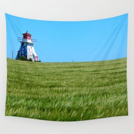 Lighthouse and the Crop Field Wall Tapestry