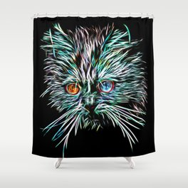 Odd-Eyed White Glowing Cat Shower Curtain