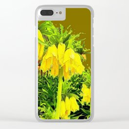 YELLOW CROWN IMPERIAL WATERCOLOR  FLOWERS Clear iPhone Case
