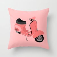 vespa Throw Pillows featuring Vespa by Fabian Bross