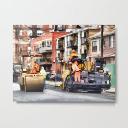 Road roller and asphalt paving machine Metal Print