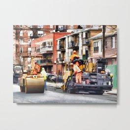 Road roller and asphalt paving machine Metal Print