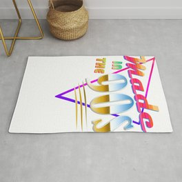 """Made in the 90s"" Vaporwave design. Retro 90's Birthday Gift design Rug"