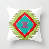 kilim Throw Pillows featuring Persian Kilim  - Plain Background by Katayoon Photography