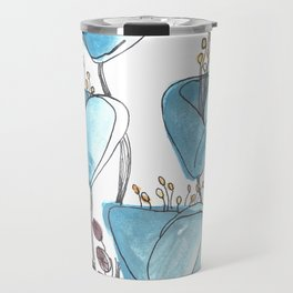 Blue Blossoms Flower Art Travel Mug