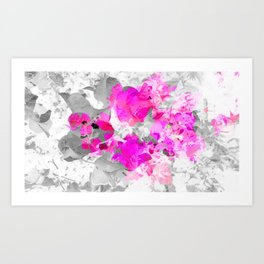 Abstract floral art (pink bougainvilleas) Art Print