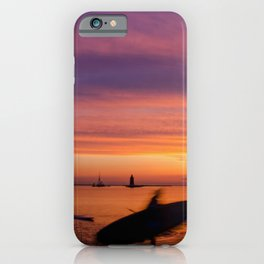 Paddle Surfer in the Sunset Coastal / Beach Landscape Photograph iPhone Case