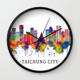 Taichung City Taiwan Skyline Wall Clock