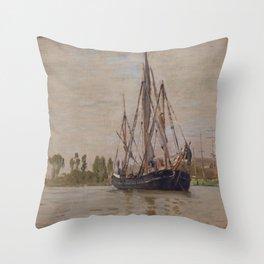 Claude Monet - Anchored Chasse-marée Throw Pillow