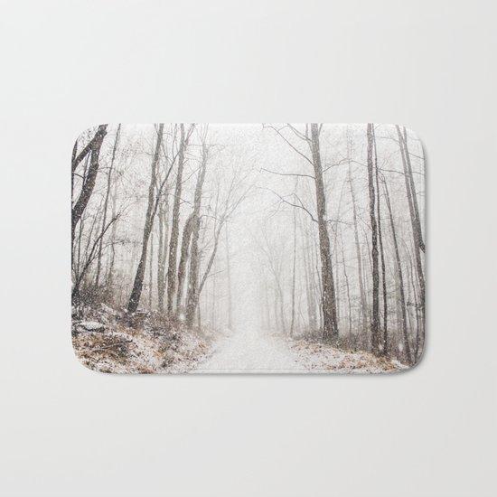 Winter path #photography #society6 Bath Mat