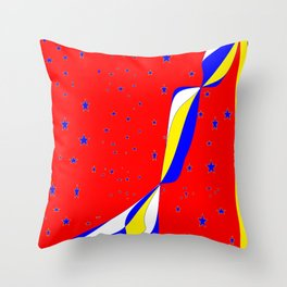 White, Blue and Yellow Stripes with Stars Throw Pillow