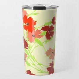 Fashion Textail Floral Print Design, Flower Bouquet Allover Pattern Travel Mug