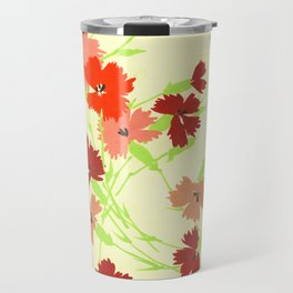 Fashion Textail Floral Print Design, Flower Bouquet Allover Pattern Travel Mug