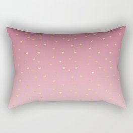 Gold Hearts Blush Pink Ombre Rectangular Pillow