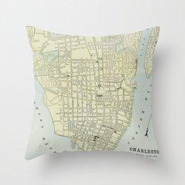 Vintage Map of Charleston SC (1901) Throw Pillow