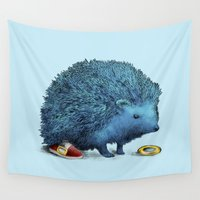 sneakers Wall Tapestries featuring Sonic by Eric Fan