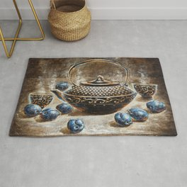 Eurika coffee and plums surreal nature morte morning painting Rug