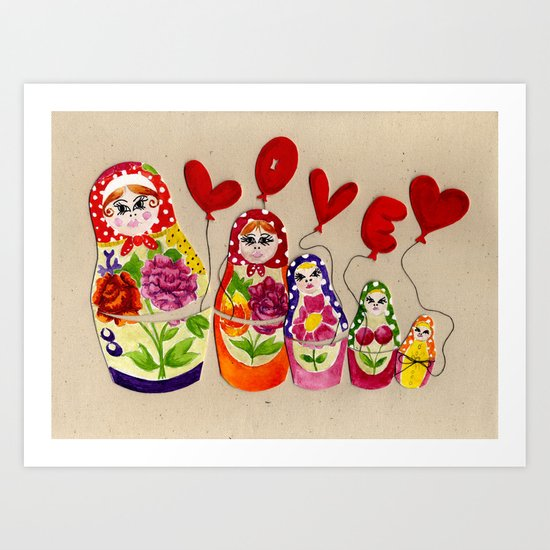 From Russia with Love Russian Dolls Art Print