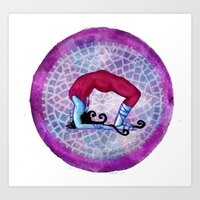 yoga Art Prints featuring yoga by Abraxas (luciana cabane)