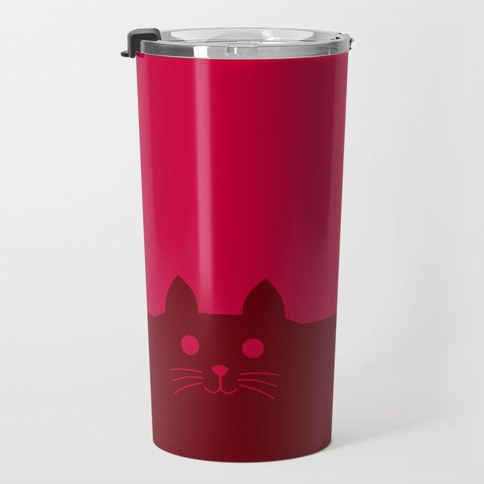 Meow Cat Red Pink Travel Mug
