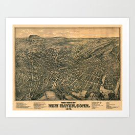 Map Of New Haven 1879 Art Print