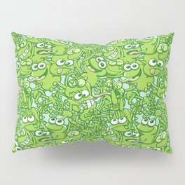 Funny green frogs entangled in a messy pattern Pillow Sham