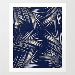 White Gold Palm Leaves on Navy Blue Kunstdrucke