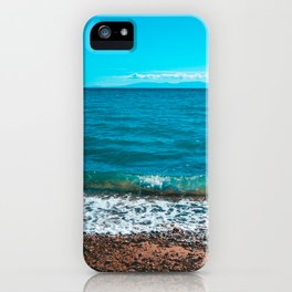 Blue sea at Greece with stony beach iPhone Case
