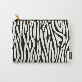 Zebra Stripes Tribal Black and Cream Carry-All Pouch