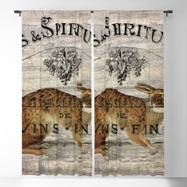 vintage typography fall harvest autumn woodland french hare rabbit Blackout Curtain