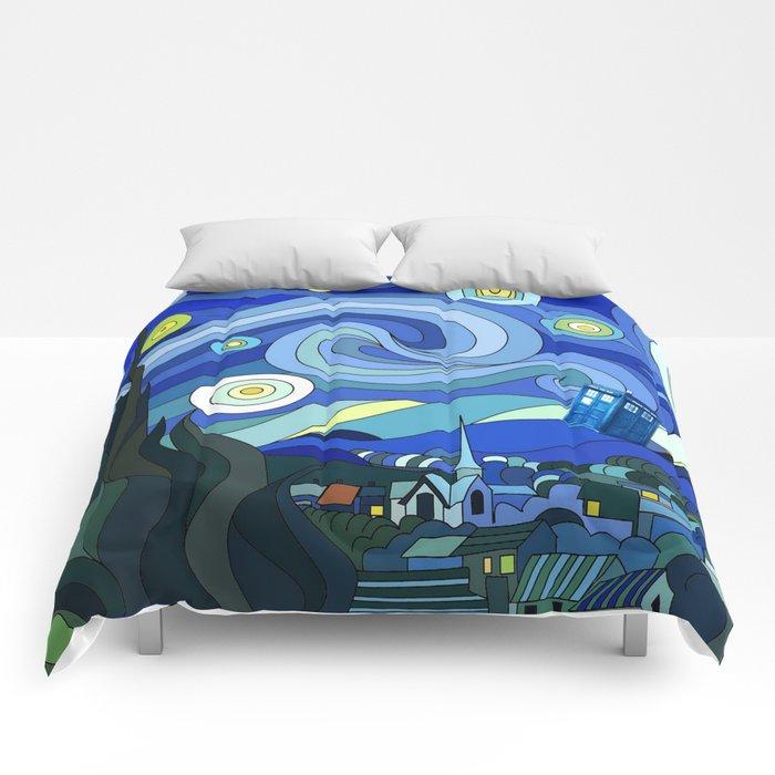 Tardis Art Starry Night Comforters