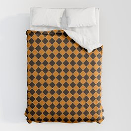 Pumpkin Orange and Spooky Black Halloween Checked Pattern with Ghost White Dots Comforters