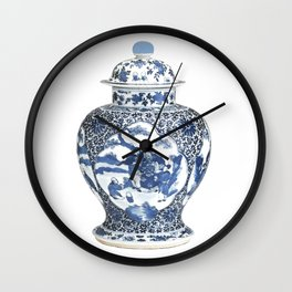 Blue & White Chinoiserie Porcelain Ginger Jar with Country Scene Wall Clock